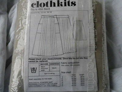 Vintage Clothkits Skirt Pattern Style 494 and fabric size 12-14