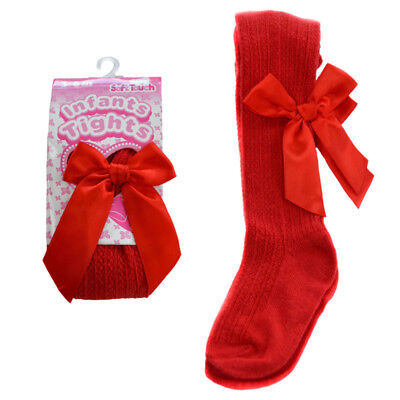 Baby Girls Romany Spanish Style Deluxe Ribbed Red Bow Tights by Soft Touch
