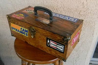 Vtg Stock Race Car Sunoco Hughes Castrol Champion Playboy Decals Wooden Tool Box
