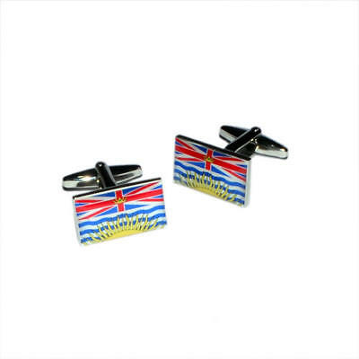 British Columbia Province of Canada Flag Cufflinks & Gift Pouch