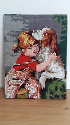 """Handworked completed tapestry """"YOUNG GIRL AND DOG"""" 22cm x 29cm (9""""x 11"""")"""