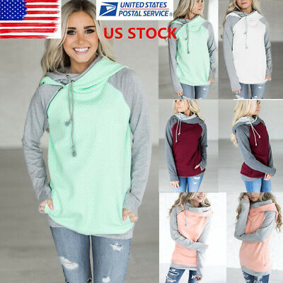 Womens Patchwork Collar Loose Hoodies Oversize Long Sleeve Tops Blouse Pullover