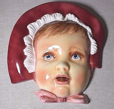 Vintage Hand Painted Coronet Japan Anthropomophic Baby Face Wall Hanging Plaque