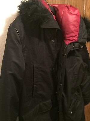 """Guess Mens Long Parka Black/red Size XL """"Nice"""""""