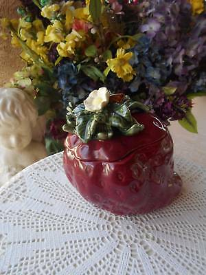 "vintage majolica pottery strawberry COOKIE JAR canister 8"" X 6 3/4"" X 7"" tall"
