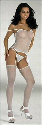 Lingerie - Net straps-top & Stockings With Thong White