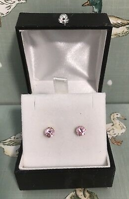 Ladies 9ct Gold Pink Stud Earrings Good Used Condition - Fast Dispatch