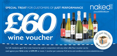 £60 Naked Wines Voucher Get £60 off a £99.99 case wine Christmas Birthday Gift