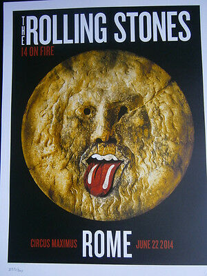 the Rolling Stones rome italy  lucca poster lithograph 2014- 14 on fire tour-