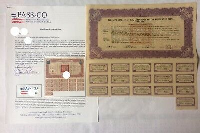 1947 China Gold Bond US$1,000 With Passco  /READ WELL- Price: $10,500 us