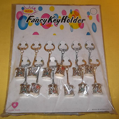 VINTAGE NEW OLD DIME STORE STOCK COUNTER DISPLAY 12 KEYCHAINS with MINI DICE