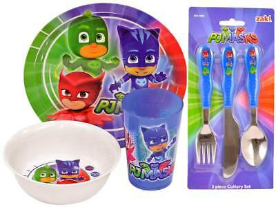 PJ Masks 6-Piece Dinner and Cutlery Set | Cup, Bowl, Plate, Knife, Fork, Spoon