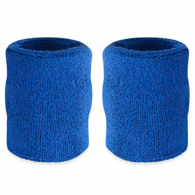 Suddora 4' Inch Sport Arm Sweatbands - Blue Athletic Cotton Armbands Pair