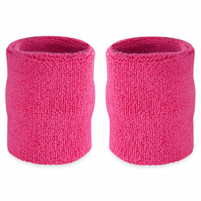 Suddora 4' Inch Sport Arm Sweatbands - Neon Pink Athletic Cotton Armbands Pair