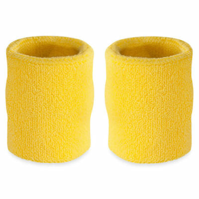 Suddora 4' Inch Sport Arm Sweatbands - NeonYellow Athletic Cotton Armbands Pair