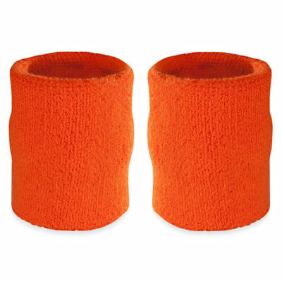 Suddora 4' Inch Sport Arm Sweatbands - Orange Athletic Cotton Armbands Pair
