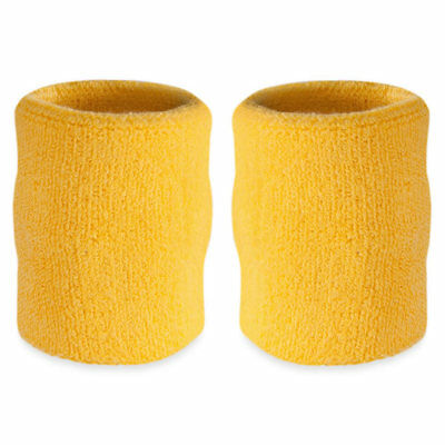 Suddora 4' Inch Sport Arm Sweatbands - Yellow Athletic Cotton Armbands Pair