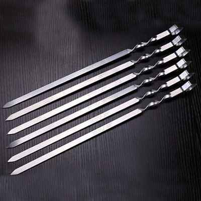 60cm 6pcs BBQ Barbecue Grilling Kabob Kebab Flat Skewers Needle