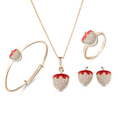 First Earrings Ring Necklace Bracelet Set Baby Girl Gift Idea Strawberry S961
