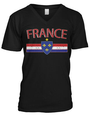 France Distressed Country Flag - Soccer French Pride Mens V-neck T-shirt
