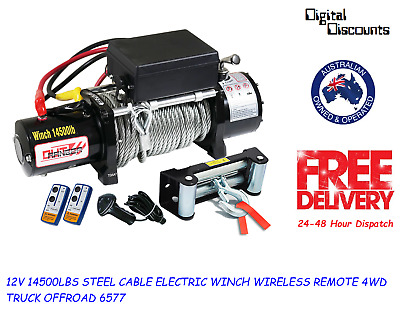 12V 14500Lbs Steel Cable Electric Winch Wireless Remote 4Wd Truck Offroad 6577