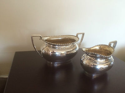 Lovely Silver Plated Sugar Bowl And Cream Jug With A Beaded Border. ( 9826)