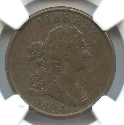 1804 Crosslet 4 With Stems Half Cent, NGC XF 40