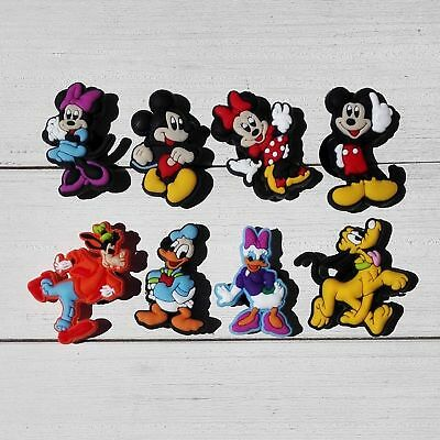 8 Mickey Mouse Minnie Pluto Goofy jibbitz croc shoe charm loom band cake toppers