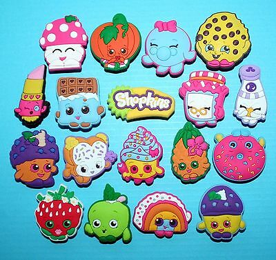 18 New Shopkins jibbitz crocs shoe wrist hair loom band charms cake toppers