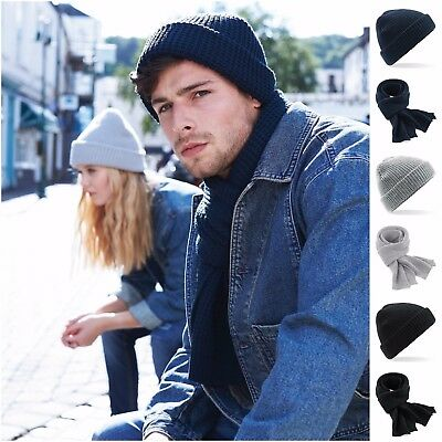 Mens Womens Ladies Woolly Beanie Hat and Scarf Set Winter Warm Waffle Knit