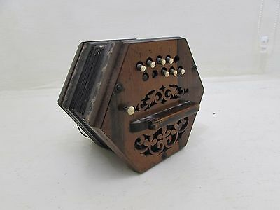 Rare Antique Rosewood Mounted Squeeze Box Accordian Floral Decoration