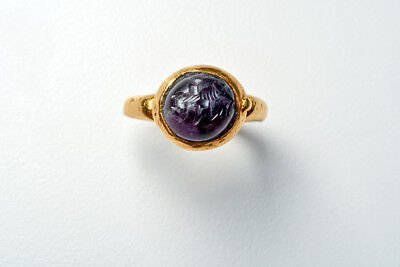 Ancient Roman Gold Ring with Amethyst Cabochon Ca. 1st-2nd century A.D.