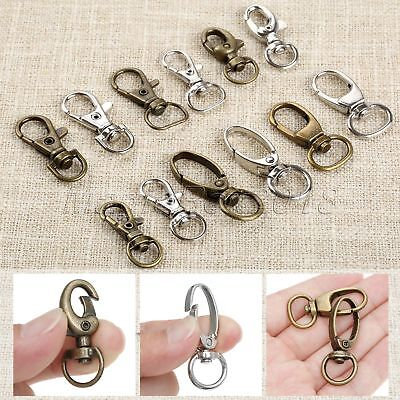 20Pcs 6 Size Alloy Swivel Lobster Clasp Clips Keychain Trigger Key Ring 2 Colour