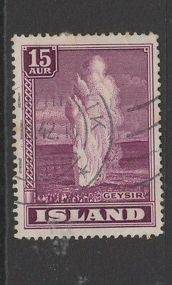 ICELAND  15a PURPLE - GREAT GEYSER - USED