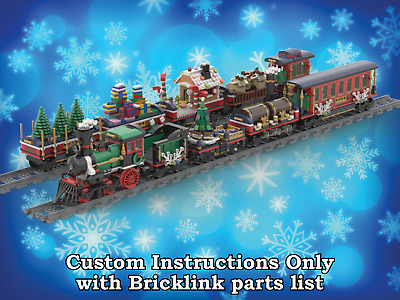 Custom INSTRUCTIONS for SIX Christmas Cars for Lego 10254 Winter Village Train