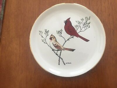 Dennis Puleston: Cardinal Plate With Gold Trim: Excellent Condition!