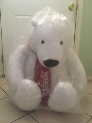 "NEW! LARGE COCA COLA POLAR BEAR  PLUSH STUFFED ANIMAL GIANT 30"" inch"
