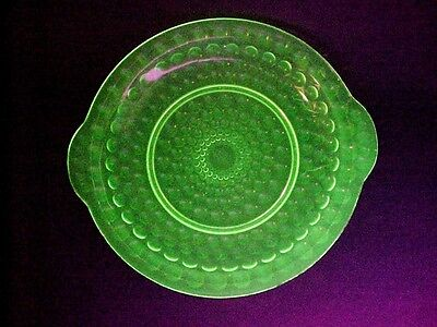 VASELINE GLASS: Tab Handled Shallow Bowl - An Early Bubble Pattern