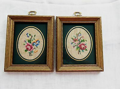 "Pair Of Very Pretty Matted Floral Needlepoints In 5""x6"" Frames With Glass"