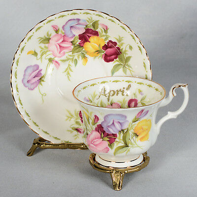 """Royal Albert """"flower Of The Month"""" Cup & Saucer - April Sweet Pea"""
