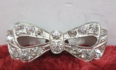 Antique Sweater Clip Silver Tone Metal with Rhinestones