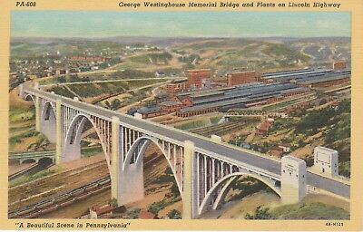 Westinghouse Bridge on Lincoln Highway Pennsylvania PA Postcard Linen Teich