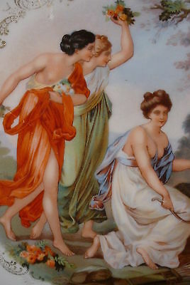 """Royal Vienna Austrian  17"""" x 12"""" Porcelain Tray Nude Maidens and Cupid"""