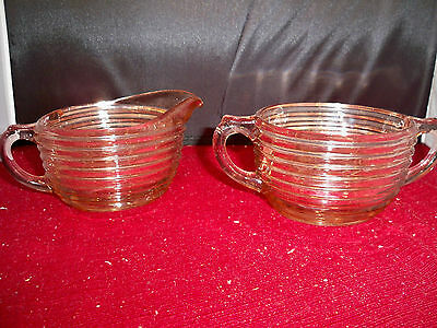 Anchor Hocking Manhattan Pink Depression creamer & Sugar Bowl