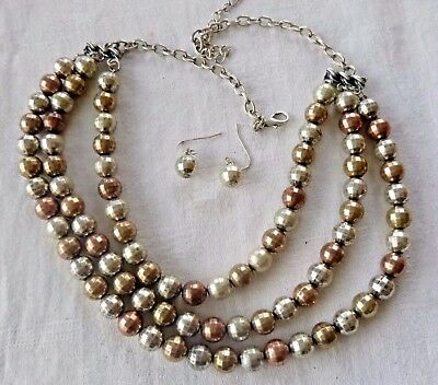 Vintage Tri-Metal 3-Strand Necklace Earrings Set Silver Plate Copper Brass