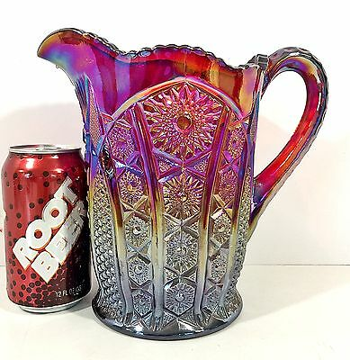 """Indiana Carnival Glass 8"""" Pitcher Sunset Red Heirloom Daisy Panel"""