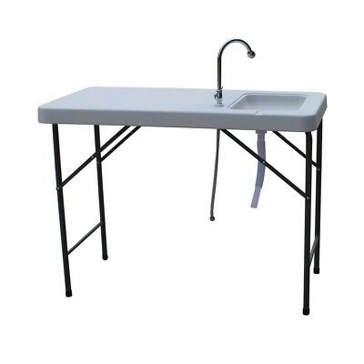 Palm Springs Plastic Trestle Table With Sink And Tap - Camping Fishing Bbq