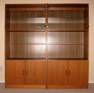 Two matching Vintage Danish Modern Teak Cabinets w/ lighted upper glass display