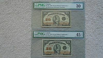 Consecutive number pair Dominion of Canada 25 cent. PMG 30 and 45 EPQ