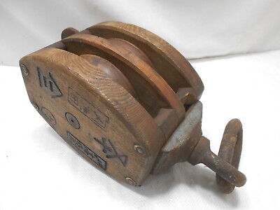 Vintage Wooden Ship's Pulley Two Wooden Wheel Japanese Markings Large  #165